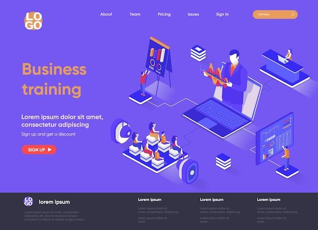 Ilustração 3d isométrica da página de destino do treinamento empresarial com personagens de pessoas