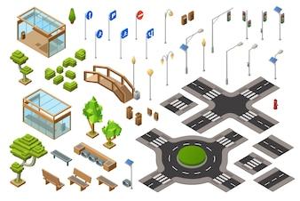 Ilustração 3D isométrica da rua do tráfego de cidade do sinal, sinais de sentido do transporte.