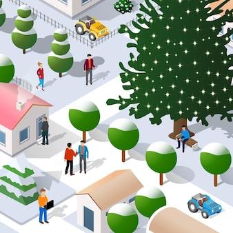 Ilustração 3d isométrica da rua natal ano novo