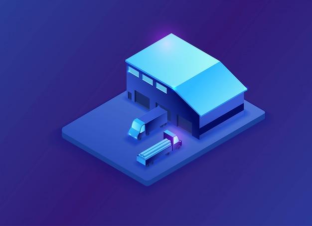 Ilustração 3d isométrica de armazém