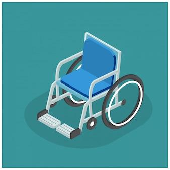 Ilustração 3d isométrica de cadeira de rodas plana