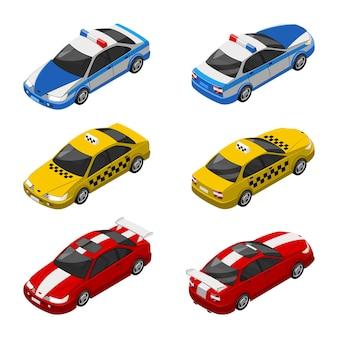Ilustração 3d isométrica de carro de táxi, veículo policial e carro de corrida