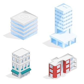 Ilustração 3d isométrica de edifícios da cidade