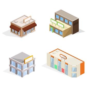 Ilustração 3d isométrica de edifícios de comércio