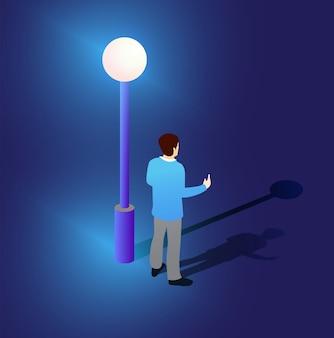 Ilustração 3d isométrica de lâmpada de rua ultravioleta de néon