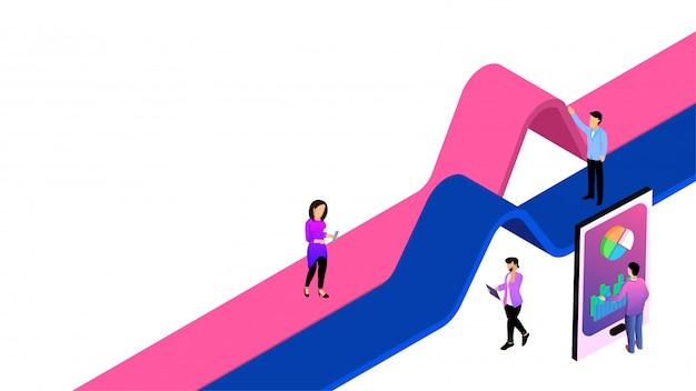 Ilustração 3d isométrica de smartphone e analistas de negócios analisam os dados para análise de dados ou conceito de crescimento da empresa.
