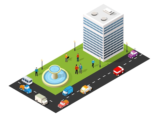 Ilustração 3d isométrica do bairro da cidade com casas, ruas, pessoas, carros