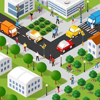 Ilustração 3d isométrica do bairro da cidade com casas Vetor Premium