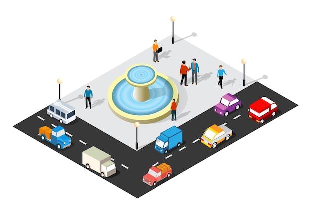 Ilustração 3d isométrica do bairro da cidade com ruas, pessoas, carros