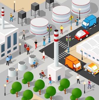 Ilustração 3d isométrica do bairro industrial da cidade com casas