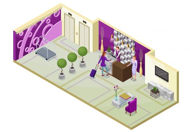 Ilustração 3d isométrica do hotel com pessoas