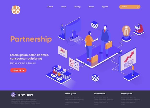 Ilustração 3d isométrica do site da página de destino da parceria com personagens de pessoas