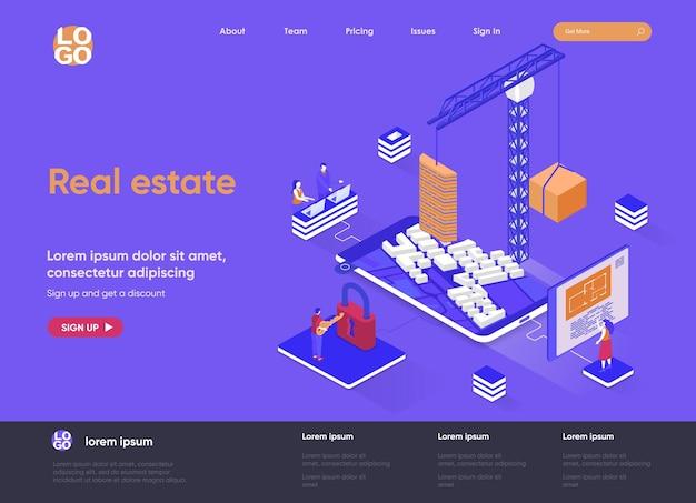 Ilustração 3d isométrica do site da página de destino imobiliária com personagens de pessoas