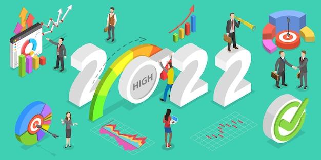 Ilustração 3d isométrica plana em vetor de gerenciamento de desempenho eficaz no ano novo