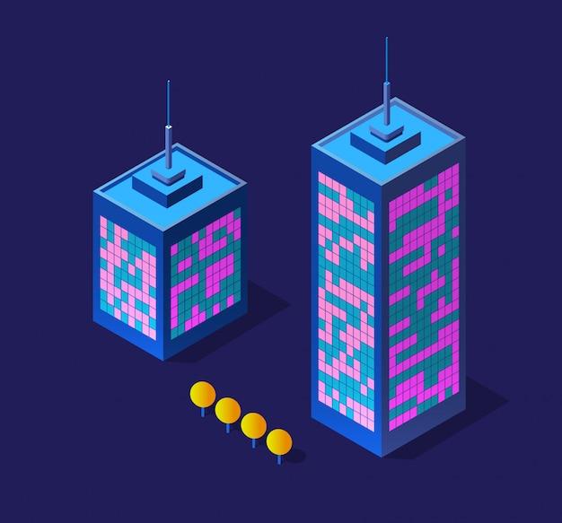 Ilustração 3d isométrica roxa ultra paisagem futura cidade árvore