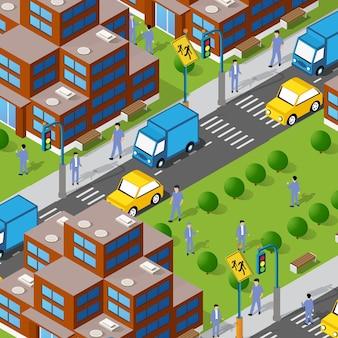 Ilustração 3d isométrica urbana de um quarteirão vizinho do centro da cidade com pessoas, casas, ruas, edifícios, carros. ilustração para a indústria de design e games.