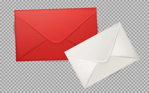 Ilustração 3d realista de envelope vermelho e branco