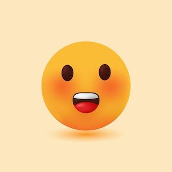 Ilustração 3d realista fofa e engraçada sorridente dos desenhos animados do emoji