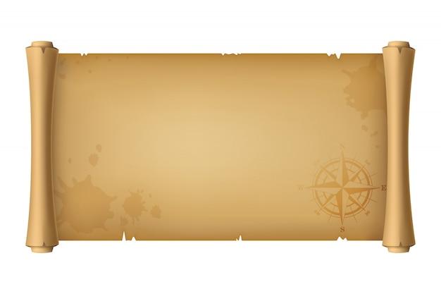 Ilustração 3d realista. rolo velho da antiguidade do pirata, mapa do tesouro com uma rosa dos ventos, isolada no branco.
