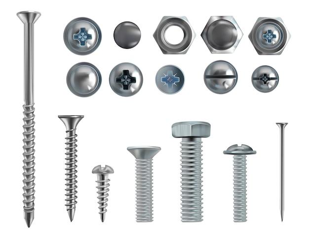 Ilustração 3d realística dos parafusos, dos pregos e dos parafusos de aço inoxidável no fundo branco.