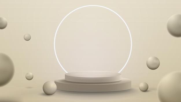 Ilustração 3d render com cena abstrata com anel de néon branco em torno do pódio. sala abstrata com esferas 3d