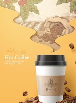 Ilustração 3d togo café anúncios gravando estilo grãos torrados e ingredientes de frutas de café