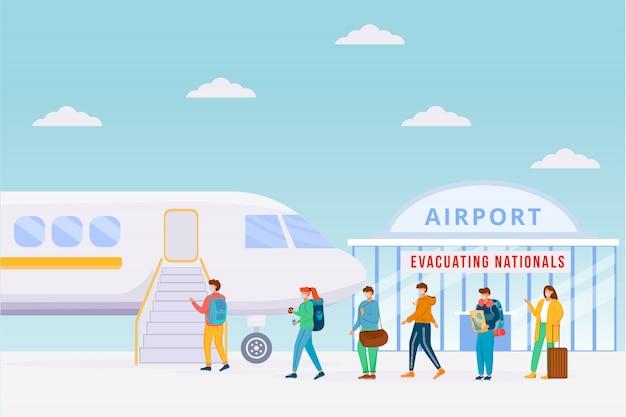 Ilustração a cores de evacuação de avião de emergência. precaução pandêmica. bloqueio de área perigosa durante a epidemia. personagens de desenhos animados em quarentena com paisagem urbana no fundo