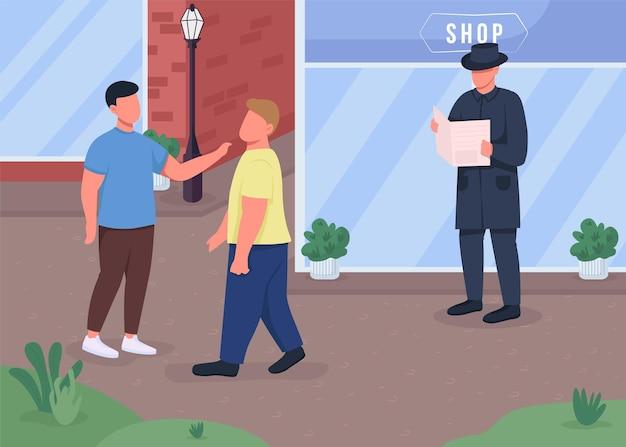 Ilustração a cores plana de criminosos