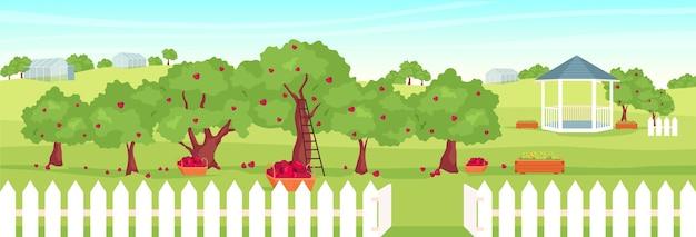 Ilustração a cores planas de pomar de macieiras
