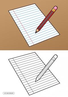 Ilustração a lápis e papel com versão de estrutura de tópicos