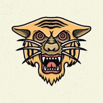 Ilustração a mão desenhando com arte de linha áspera, conceito de cabeça de tigre