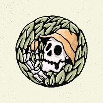 Ilustração a mão desenhando com arte de linha áspera, conceito do esqueleto em muitas folhas e encontrando os grãos de café