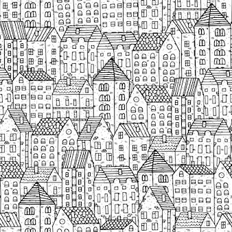 Ilustração a preto e branco com casas antigas desenhadas à mão.