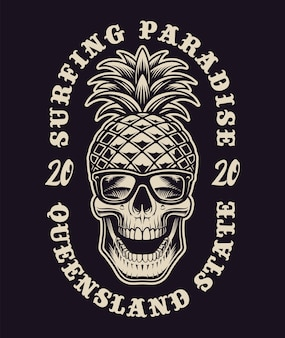 Ilustração a preto e branco com caveira sobre o tema surf. isso é perfeito para logotipos, estampas de camisas e muitos outros usos também.