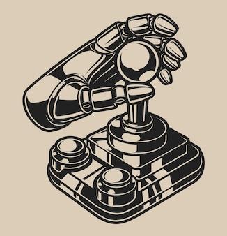 Ilustração a preto e branco com joystick retro em um fundo branco. isolado.