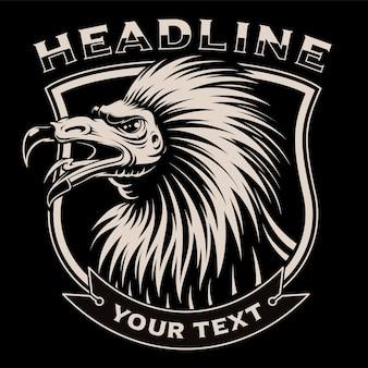 Ilustração a preto e branco de abutre no fundo escuro. em camadas, o texto está no grupo separado.