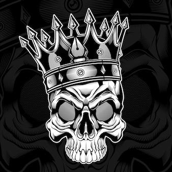 Ilustração a preto e branco de caveira rei para camisetas