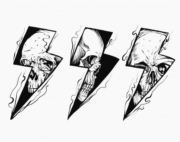 Ilustração a preto e branco de caveira relâmpago