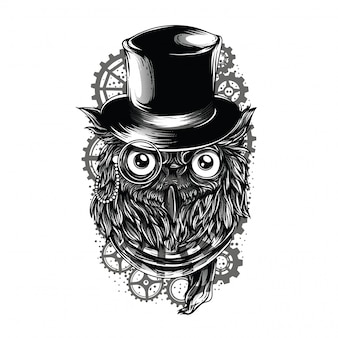 Ilustração a preto e branco de coruja steampunk