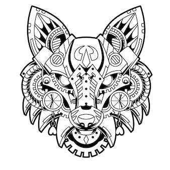Ilustração a preto e branco de fox steampunk