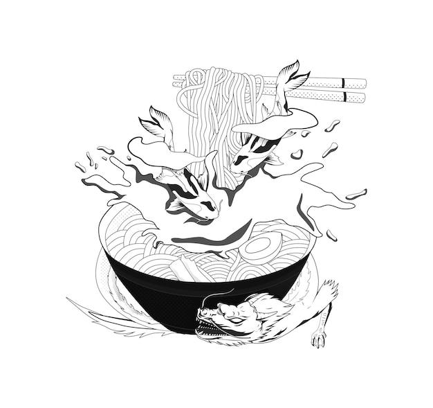 Ilustração a preto e branco de macarrão do japão para o thsirt