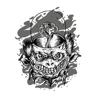 Ilustração a preto e branco de monstro alienígena
