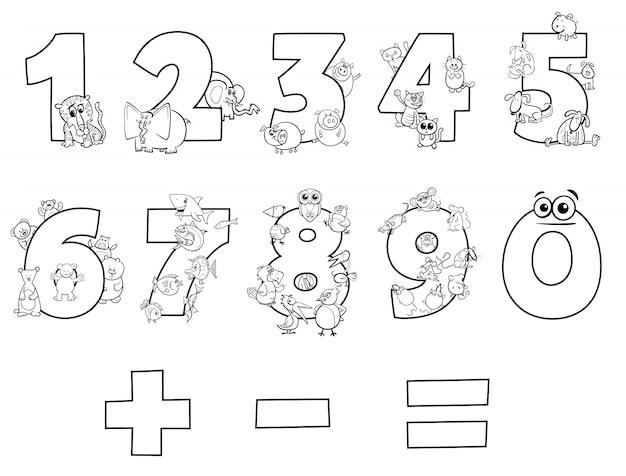 Ilustração a preto e branco de números