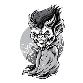 Ilustração a preto e branco de pequeno demônio