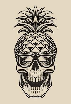 Ilustração a preto e branco de uma caveira em forma de abacaxi. este elemento é perfeito para estampas de camisas e muitos outros usos também.
