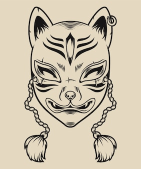 Ilustração a preto e branco de uma máscara de raposa japonesa em um fundo branco. máscara kitsune.