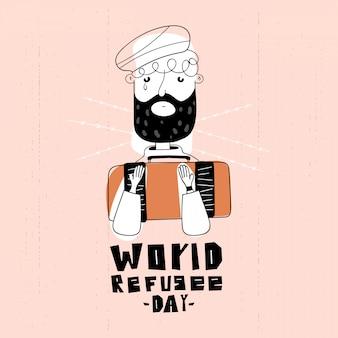 Ilustração a preto e branco do dia mundial dos refugiados