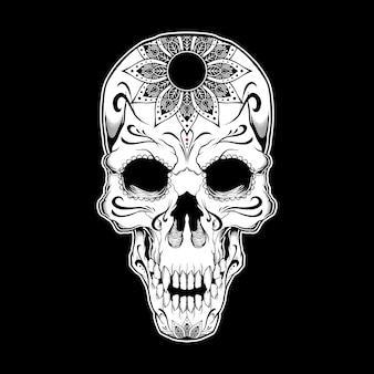 Ilustração a preto e branco tatuagem caveira