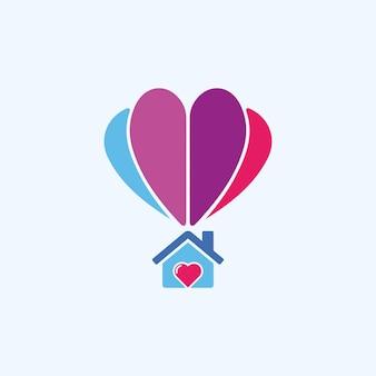 Ilustração abstrata casa voando com design de logotipo de sinal de balão de ar