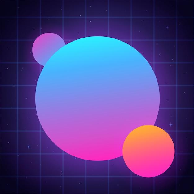 Ilustração abstrata círculos de néon